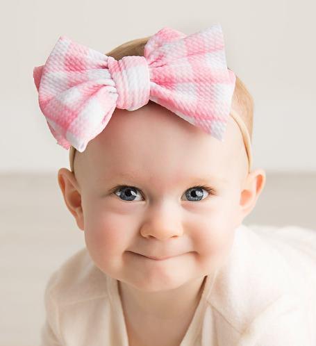 Choose Color - Gingham Plaid Nylon Big Bow Headband