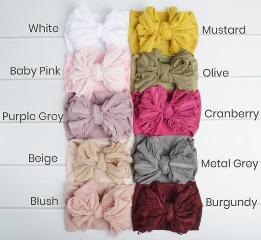 Choose Color - Oversized Ruffle Bow Nylon Headband