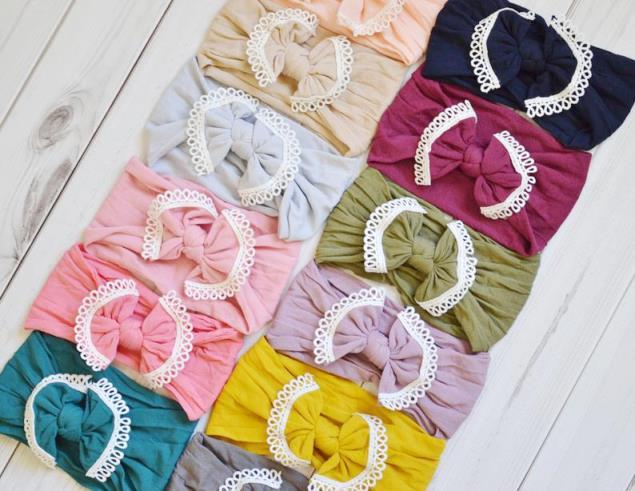 Lace Trim Nylon Messy Bow Headwrap Headbands - Choose ANY 5