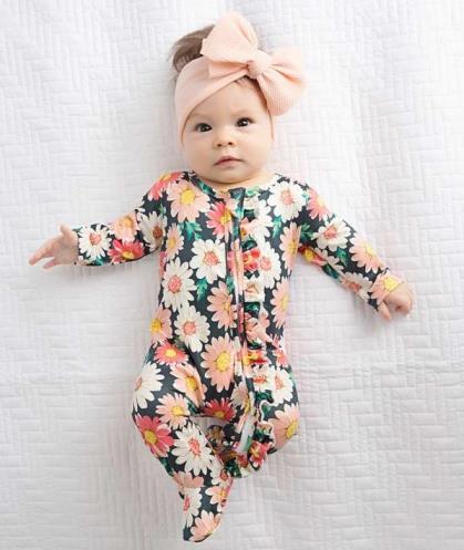 Ella Peach Floral Ruffle Zippered Footed Romper
