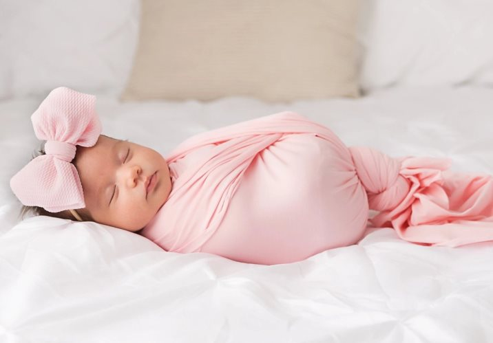 Baby Pink Knit Swaddle Blanket