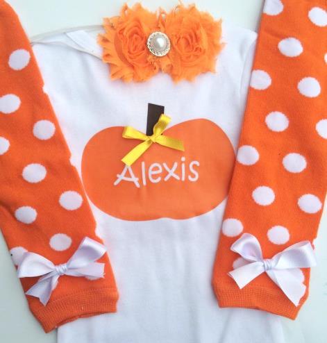 Personalized Orange Pumpkin Fall Bodysuit