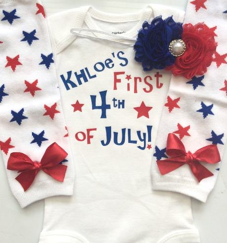 Personalized First 4th of July Bodysuit