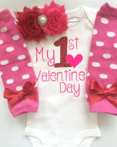 My 1st Valentine's Day Red & Pink Glitter Set with Matching Headband & Leg Warmers