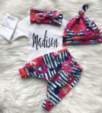 Blue Striped Floral Personalized Newborn Outfit