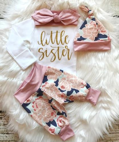 Navy & Blush Little Sister Floral Newborn Outfit