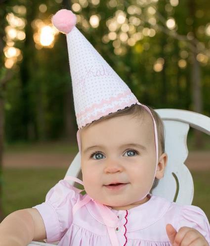 Personalized Soft Pink Polka Dot 1st Birthday Hat