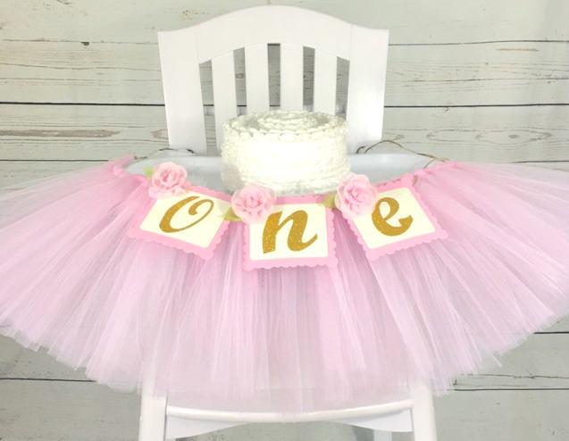 Pink & Gold Rose First Birthday High Chair Tutu Banner