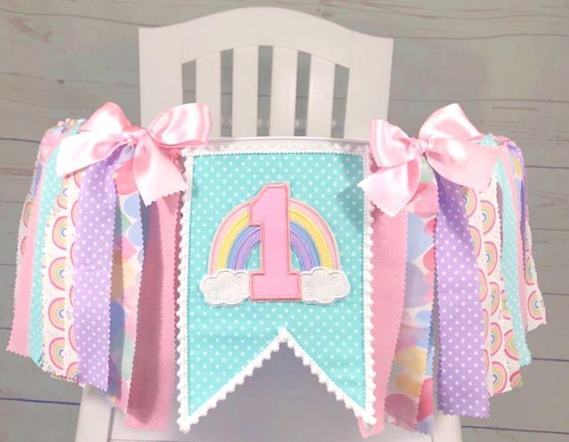 Pastel Rainbow First Birthday High Chair Banner