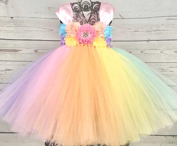 Floral Pastel First Birthday Tutu Dress