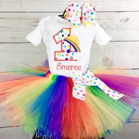 Personalized First Birthday Rainbow Tutu Outfit