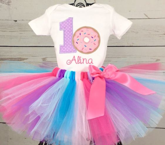 First Birthday Personalized Donut with Sprinkles Onesie and Tutu Outfit Set