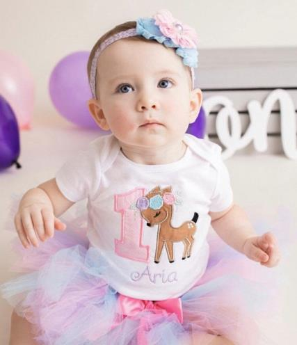 Floral Deer First Birthday Tutu Outfit