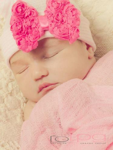 Hot Pink Chic Rosette Bow Newborn Boutique Hospital Hat