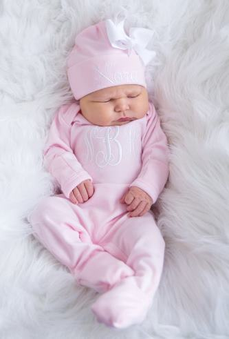 Newborn Baby Pink Personalized Monogram Romper & Matching Hat Outfit Set