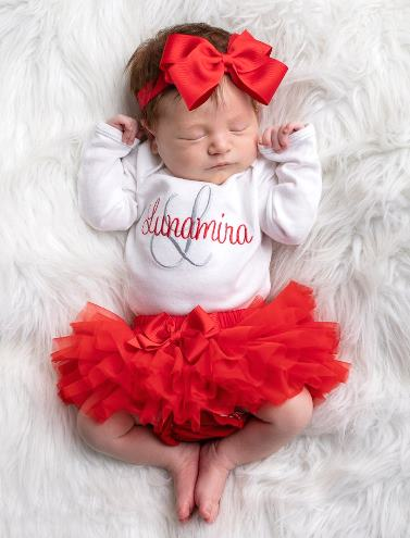 Personalized Red & White 3pc. Onesie Tutu Diaper Cover and Headband Outfit Set