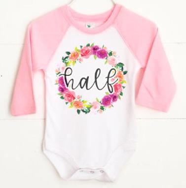 Baby Girls Floral Half Birthday Bodysuit