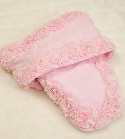 Newborn Baby Girl Pink Shabby Chiffon Swaddle Blanket
