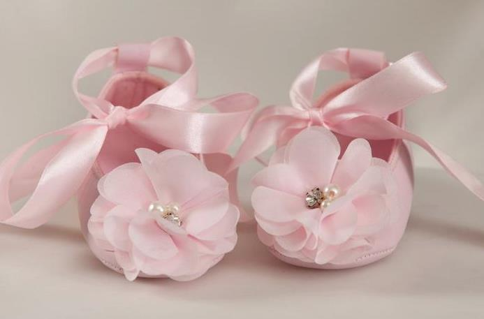 Baby Pink Chiffon Flower Shoes with Ribbon Tie