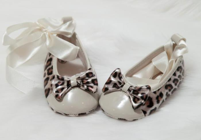 Cream Leopard Bow Shoes with Ribbon Tie
