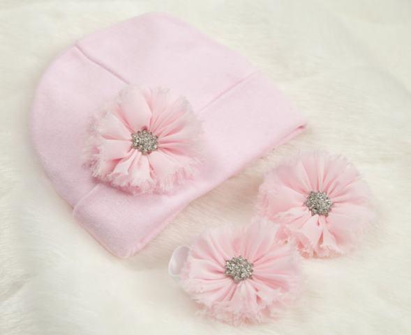 Choose Color - Newborn Pink Hat & Barefoot Flower Sandals Set