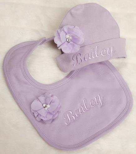 Lavender Personalized Hat & Bib Gift Set