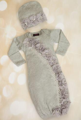 Gray Chiffon Rhinestone Gown with Matching Hat