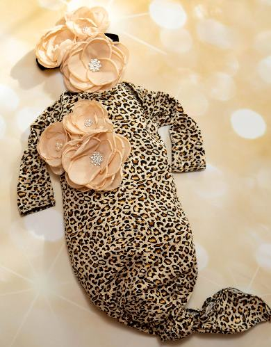 Infant Leopard & Beige Flower Layette Tie Gown with Matching Headband