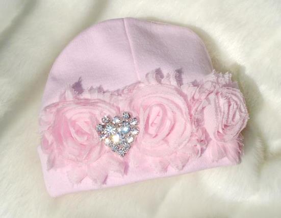 Pink Rhinestone Heart Chiffon Newborn Hat