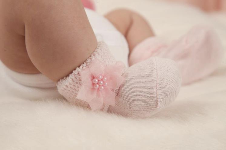 Pink Newborn Baby Girl Socks with Little Flowers