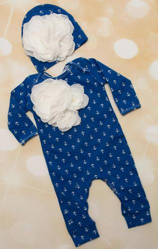 Blue Anchor Layette Flower Romper with Matching Hat