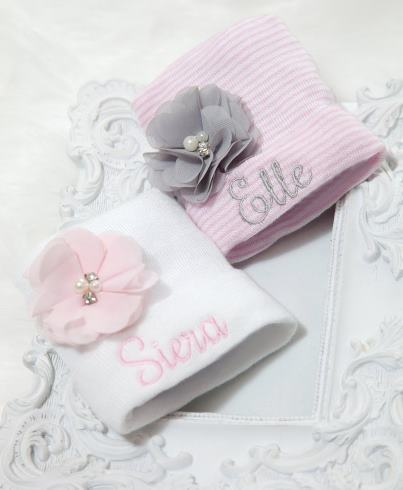 Personalized Newborn Flower Hospital Hat