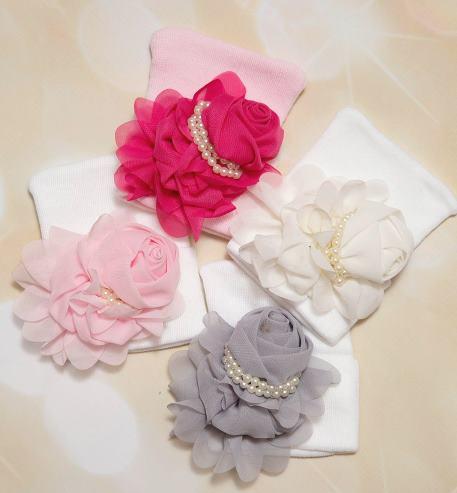 Couture Chiffon Flower Newborn Hospital Hat