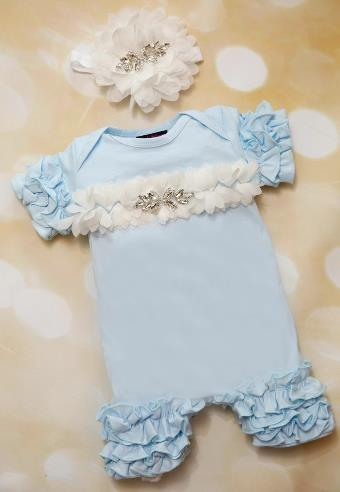 Baby Blue Ruffle Romper and Matching Headband Outfit Set