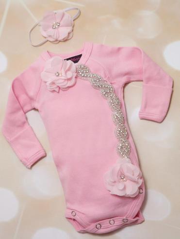 Preemie Pink Rhinestone Chiffon Bodysuit & Headband Set