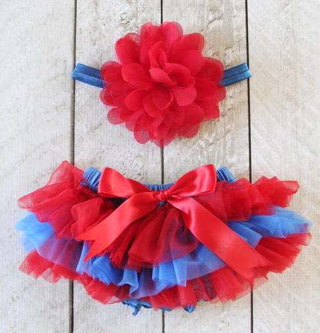 Red & Blue Tutu Diaper Cover with Matching Headband