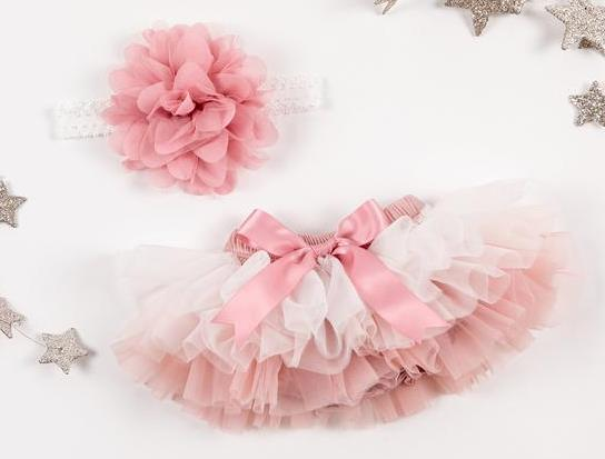 Vintage Rose Ombre Tutu Diaper Cover with Matching Headband