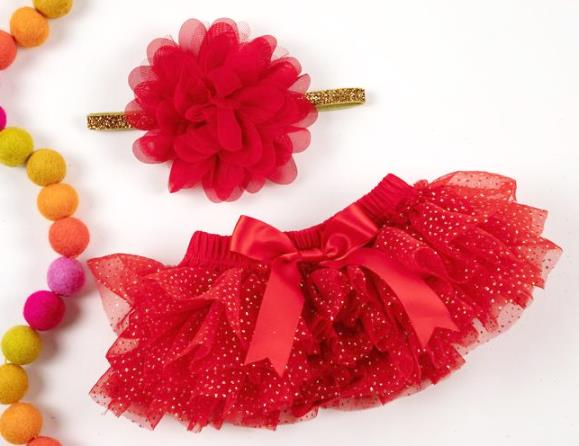 Red & Gold Glitter Tutu Diaper Cover with Matching Headband