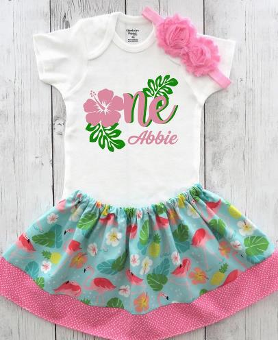 Personalized Hawaiian Luau First Birthday Outfit