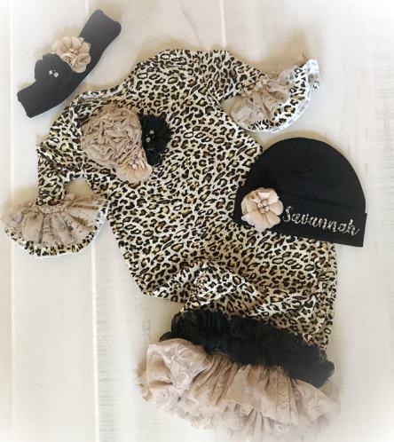 Newborn Leopard Lace Couture Ruffle Gown