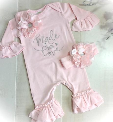 Newborn Made With Love Pink Ruffle Rhinestone Romper