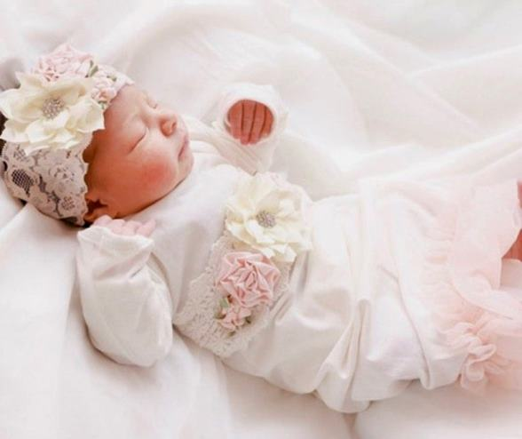 Newborn Couture Ivory Coming Home Outfit Gown with Matching Headband