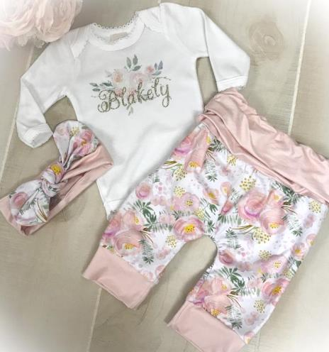 Personalized Pink Floral Pants Outfit with Matching Headband