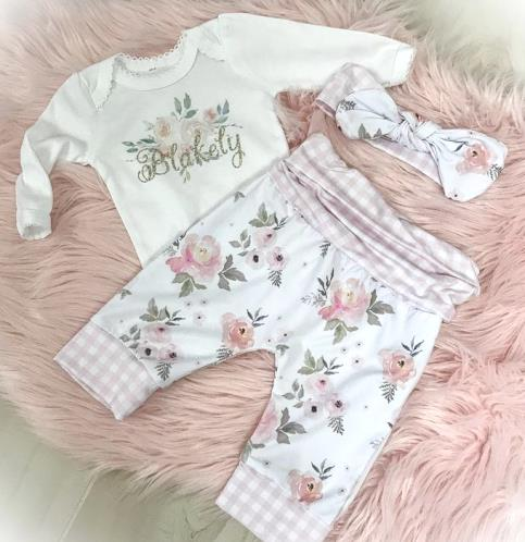 Personalized Pink Gingham Floral Pants Outfit with Matching Headband