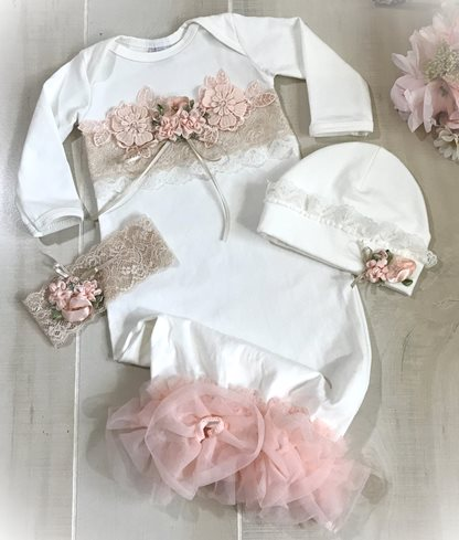 Newborn Beige & Peach Lace Couture Ivory Gown
