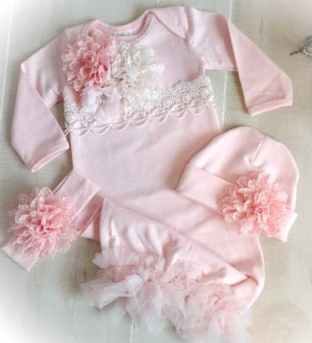 Pink & Ivory Lace Couture Newborn Gown