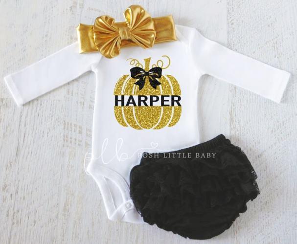 Personalized Gold & Black Pumpkin Bodysuit