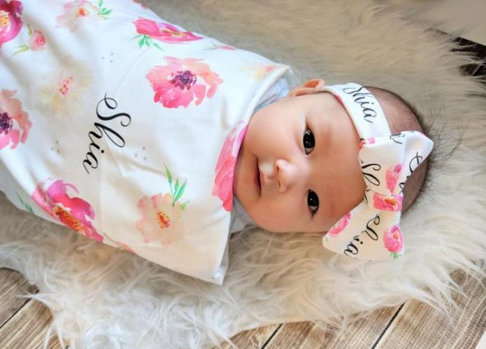 Personalized Floral Watercolor Swaddle Blanket