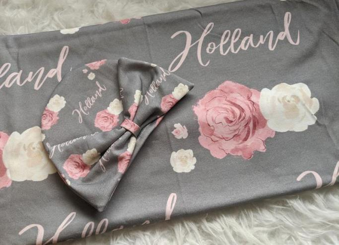 Gray & Pink Floral Personalized Swaddle Blanket
