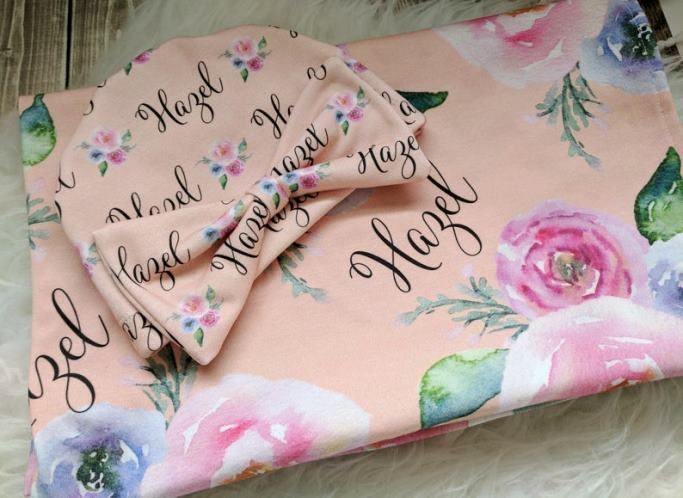 Peach Watercolor Floral Personalized Swaddle Blanket